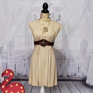 Sky dress tan with leather waist and beading Med